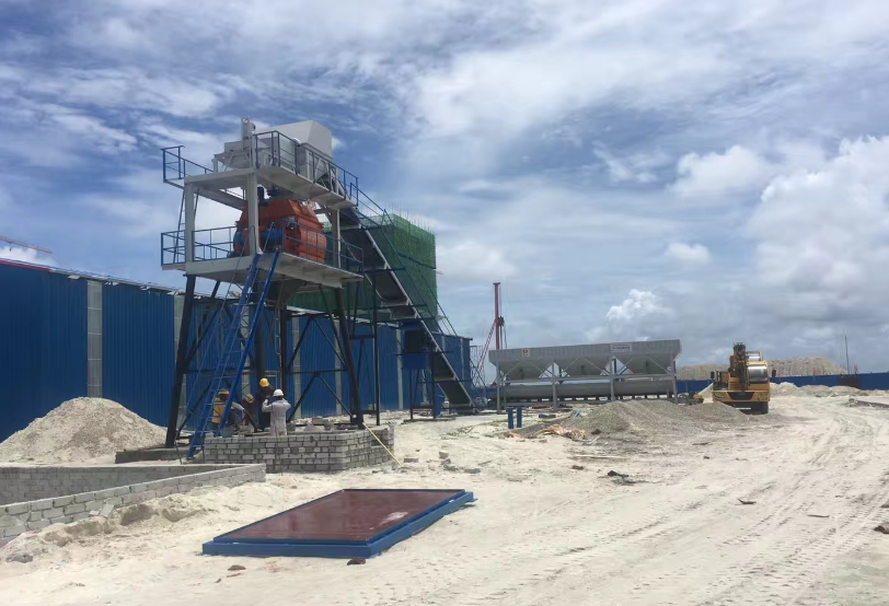 Installed one set HZS90 concrete mixing plant in Maldives
