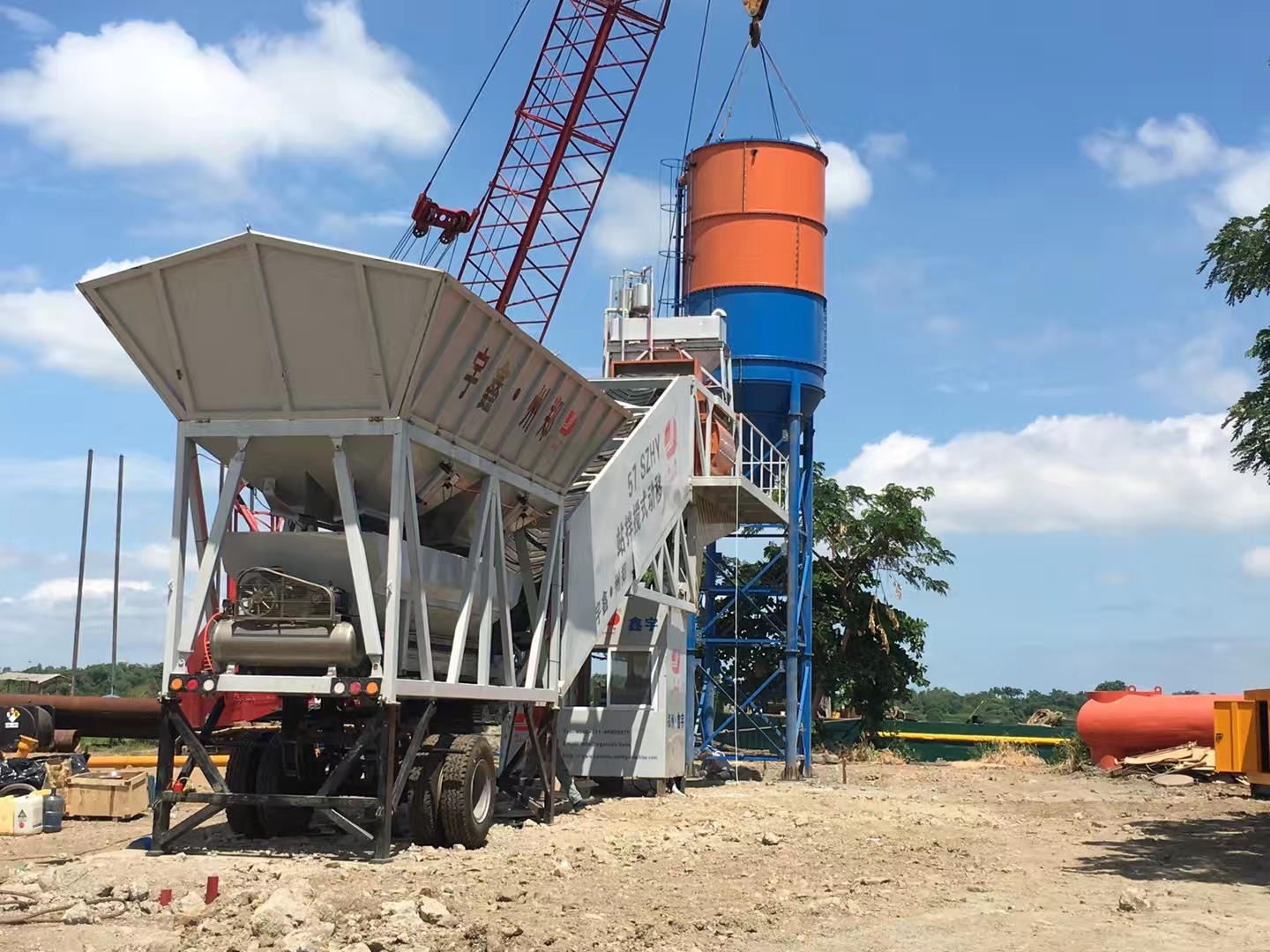 YHZS75 Mobile Concrete Batching Plant in Philippines
